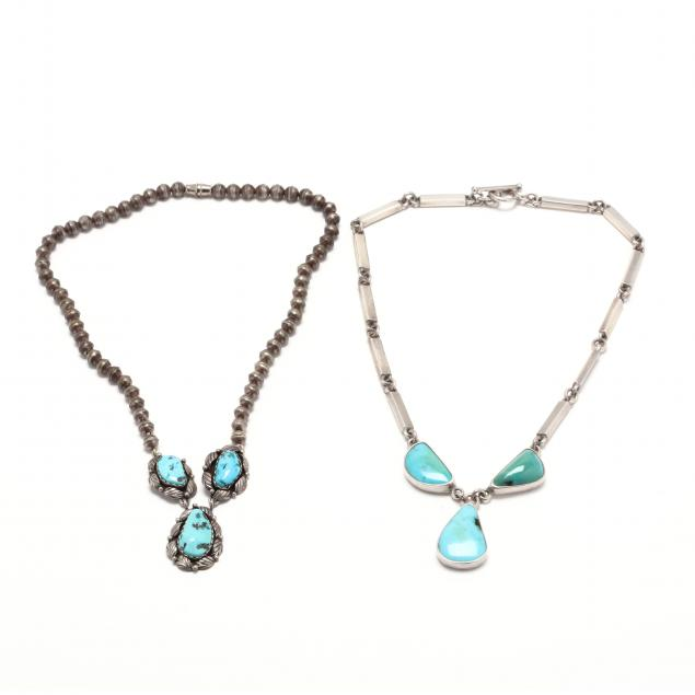 two-silver-and-turquoise-necklaces