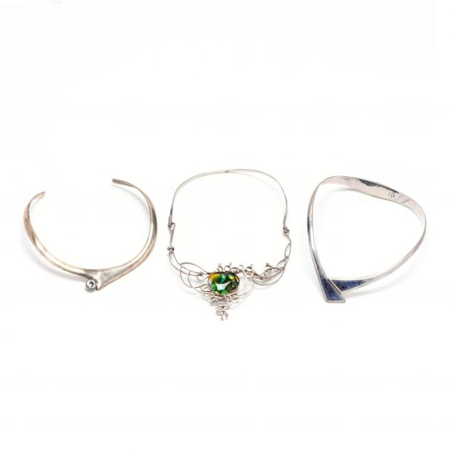 three-silver-and-gem-set-necklaces
