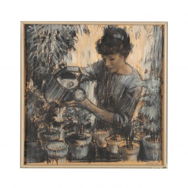 don-neiser-1918-2009-drawing-of-woman-watering-potted-plants