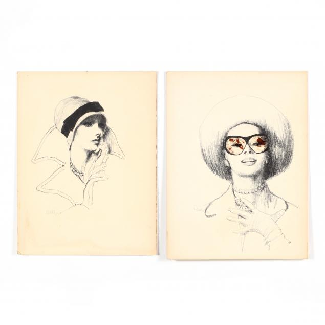 don-neiser-1918-2009-a-pair-of-fashion-portrait-drawings