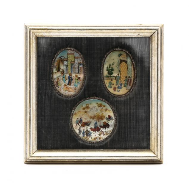 a-framed-group-of-three-persian-paintings-on-abalone-shells