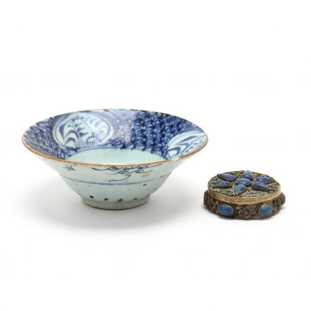 an-asian-blue-and-white-porcelain-bowl-and-silver-box-with-inlaid-lapis