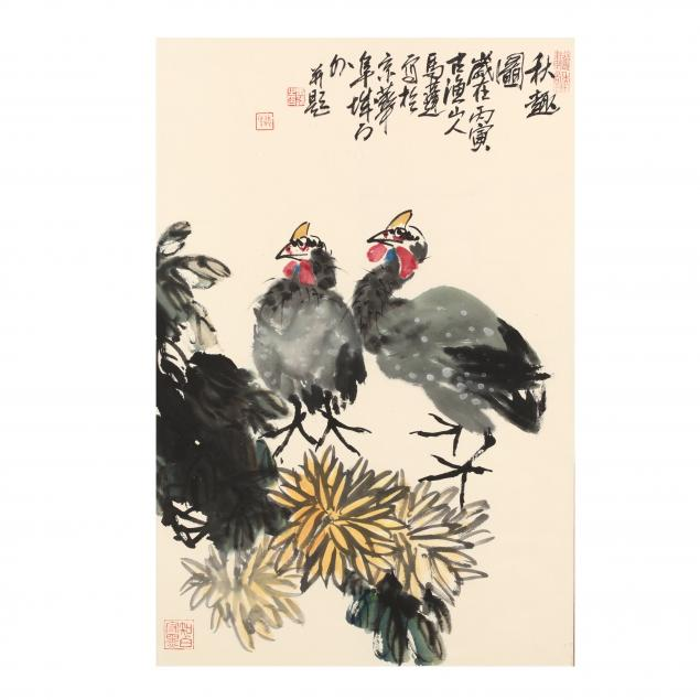 a-chinese-painting-of-roosters-and-dahlias