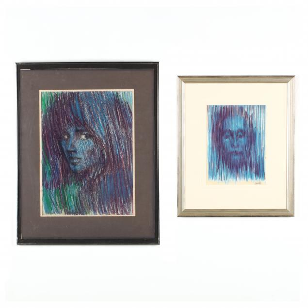 don-neiser-1918-2009-two-portrait-drawings-in-blue-and-purple-palettes