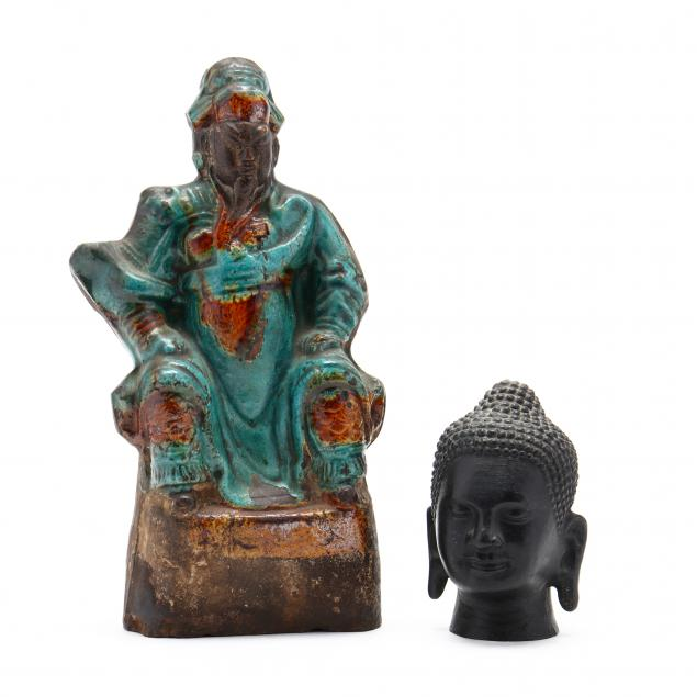 a-chinese-ancestor-sculpture-and-a-buddha-head