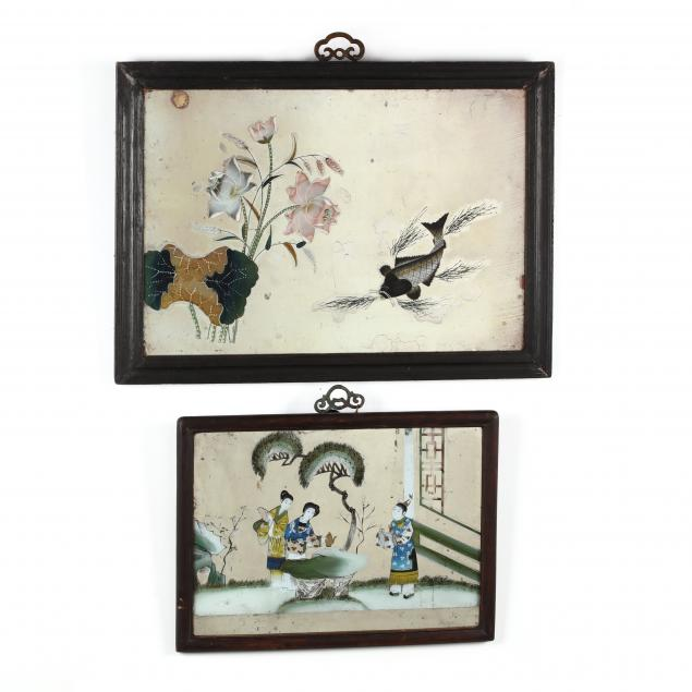 two-chinese-reverse-glass-paintings