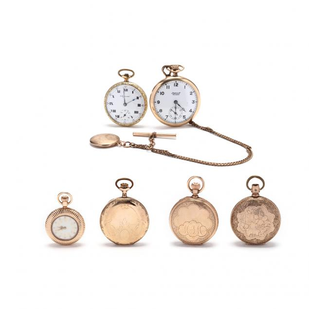 six-antique-gold-filled-pocket-watches