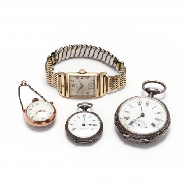 three-vintage-pocket-watches-and-a-gent-s-14kt-watch-by-hamilton