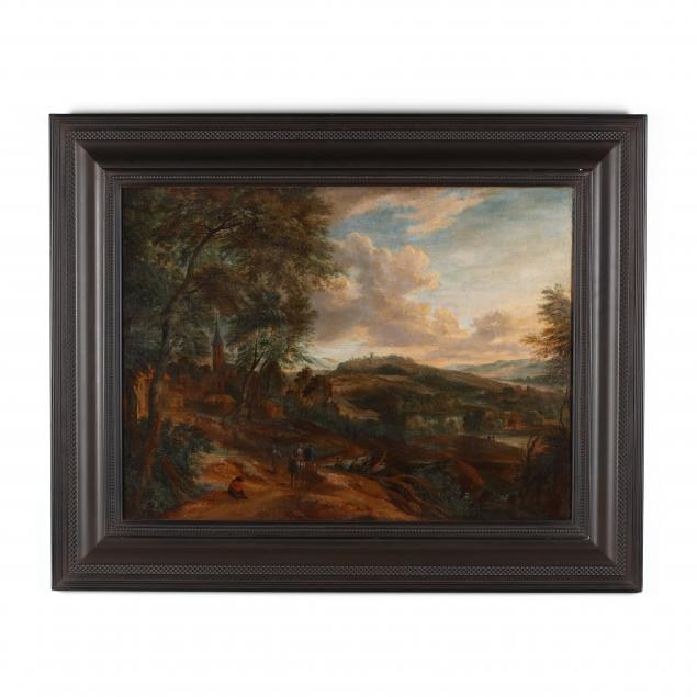 flemish-school-landscape-with-figures-and-village-17th-century
