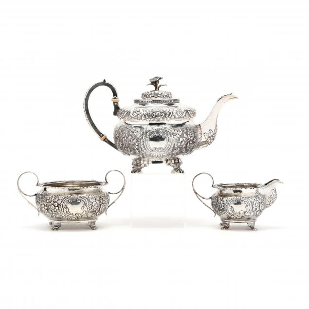 an-assembled-irish-george-iv-silver-tea-set
