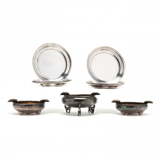 nine-sterling-silver-and-silverplate-ashtrays-from-colombia