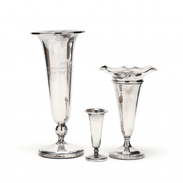 three-sterling-silver-trumpet-vases