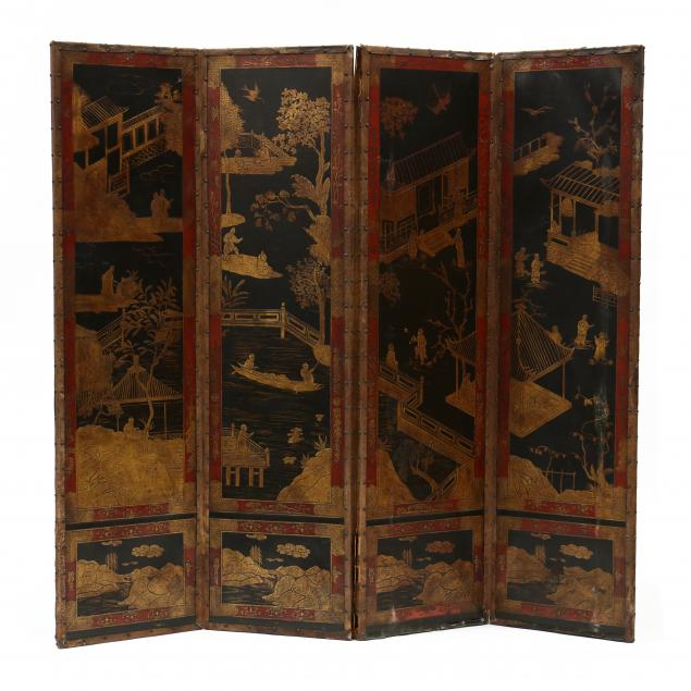 vintage-chinese-painted-leather-floor-screen