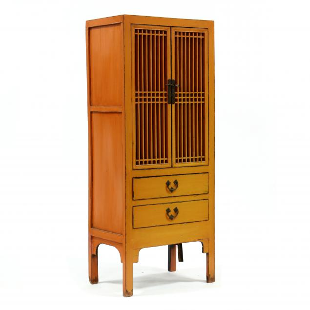 decorative-chinese-orange-lacquered-cabinet
