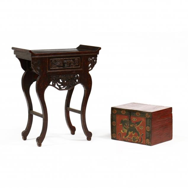 chinese-lacquered-storage-box-and-one-drawer-table