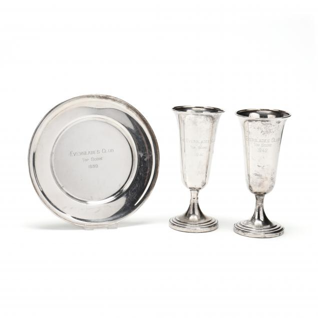 three-everglades-club-sterling-silver-trophies