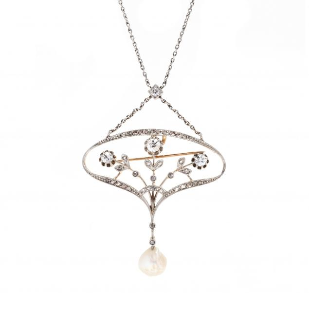 antique-platinum-topped-gold-gem-set-necklace-and-platinum-and-pearl-station-necklace