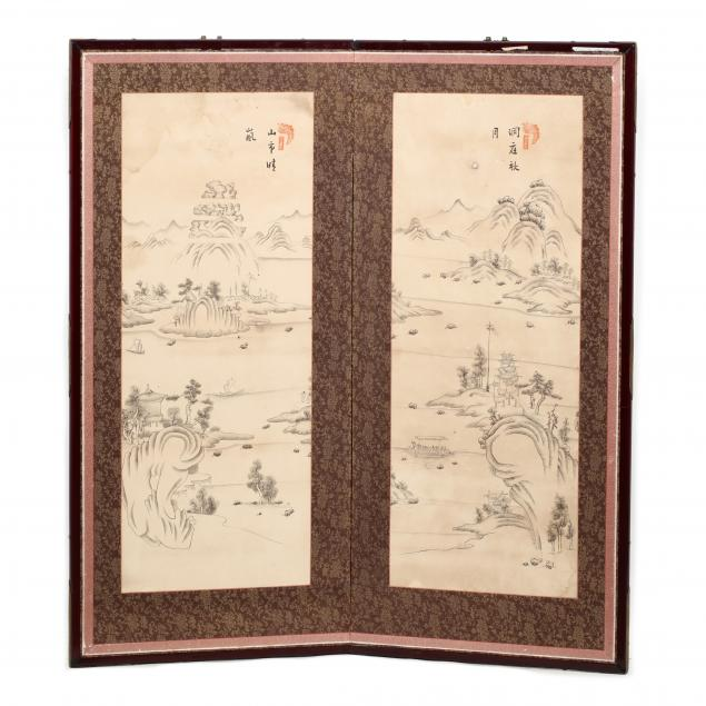 a-korean-two-panel-folding-screen-with-riverscape