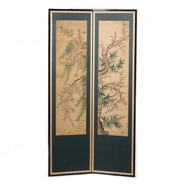 a-korean-two-panel-folding-screen-with-cherry-and-plum-blossoms