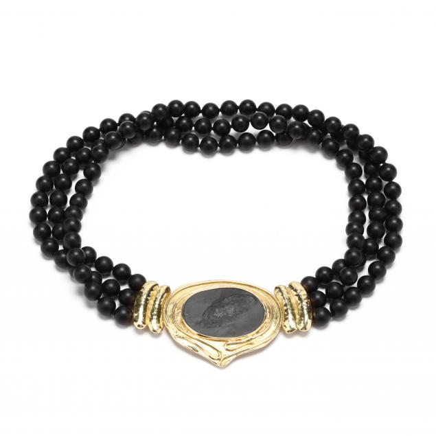 18kt-gold-and-triple-strand-onyx-bead-necklace-with-artist-s-illustration-elizabeth-gage