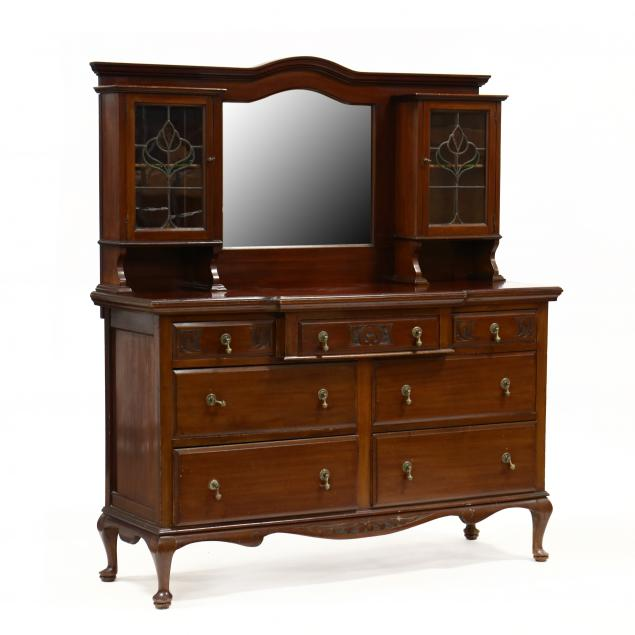 english-art-nouveau-carved-mahogany-buffet