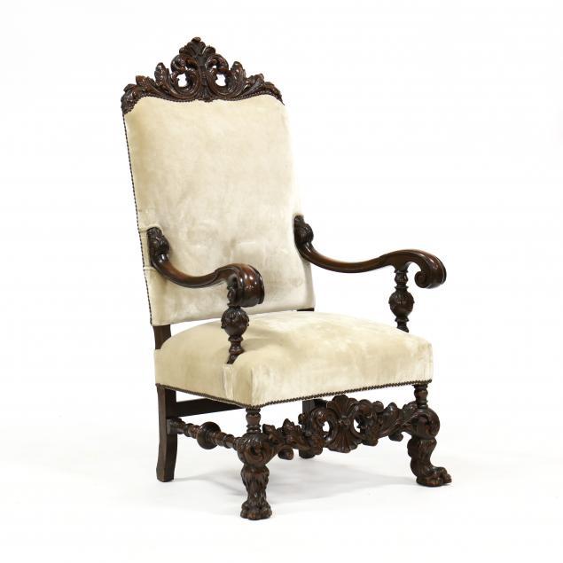 spanish-renaissance-revival-carved-walnut-hall-chair