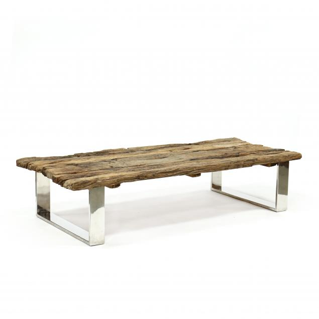 contemporary-driftwood-and-chrome-coffee-table