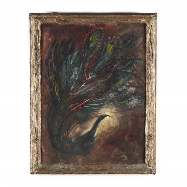 george-solonevich-russian-american-1915-2003-painting-of-a-peacock