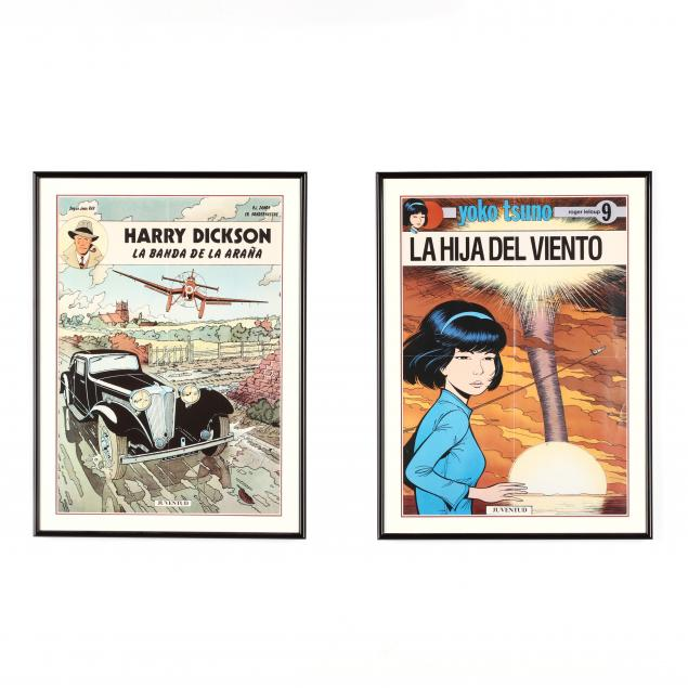 two-framed-vintage-comics-published-by-i-juventud-i-harry-dickson-and-yoko-tsuno