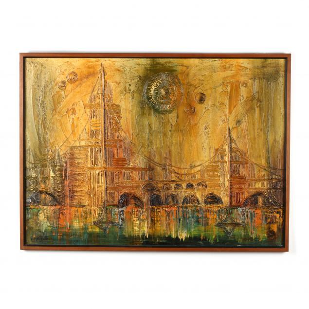 mid-century-van-hoople-skyline-painting-with-bridge