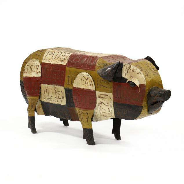 large-decorative-painted-metal-pig
