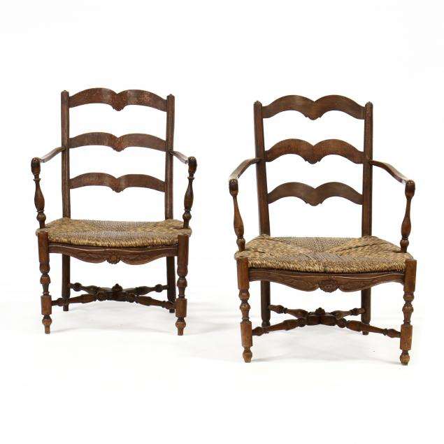 two-similar-french-provincial-armchairs
