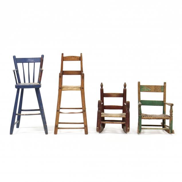 four-antique-primitive-child-s-chairs