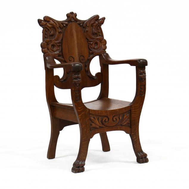 american-renaissance-revival-carved-oak-armchair