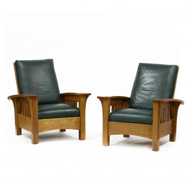 stickley-pair-of-contemporary-oak-and-leather-morris-chairs