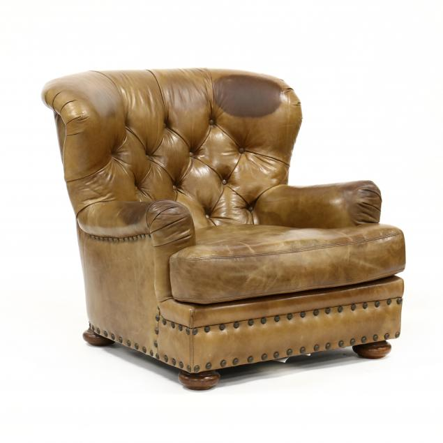 henredon-tufted-leather-club-chair