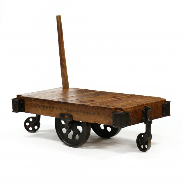 antique-industrial-cart-coffee-table