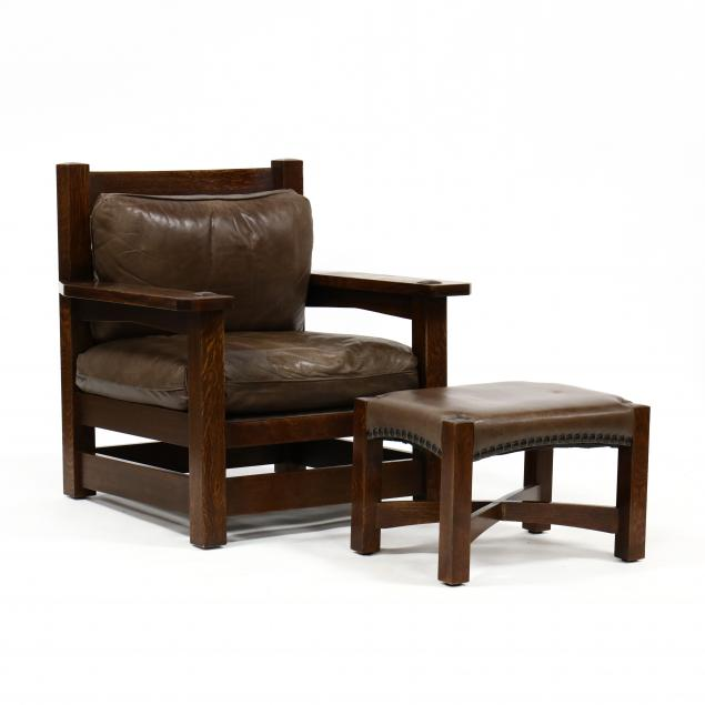 stickley-oversized-mission-oak-and-leather-armchair-and-ottoman