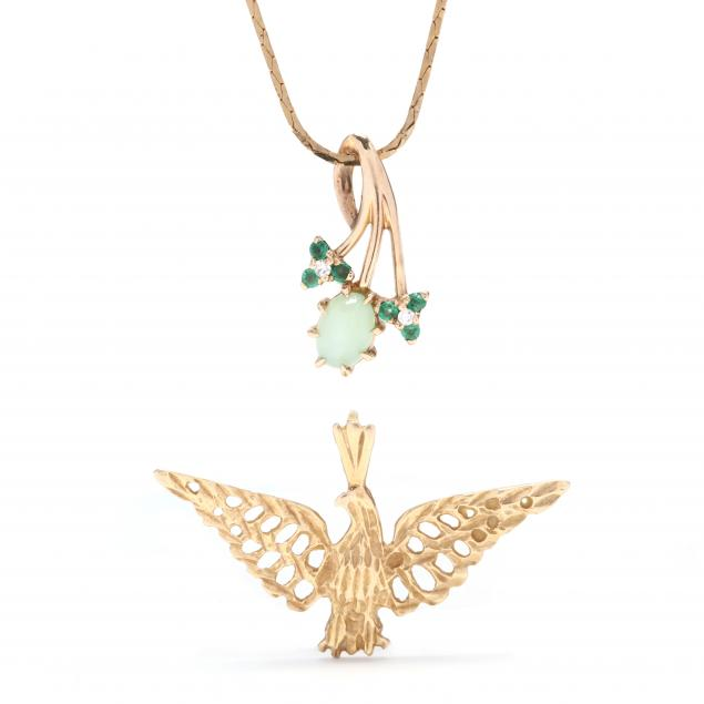 a-gold-and-gem-set-pendant-and-a-gold-eagle-pendant