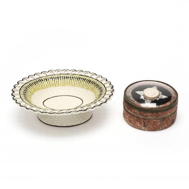 two-english-items-oval-pearlware-pedestal-sweetmeat-dish-and-early-box