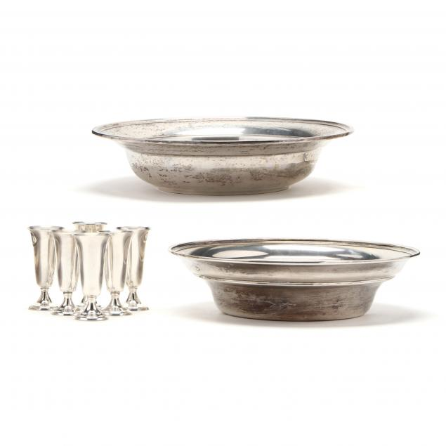 a-grouping-of-sterling-silver-bowls-and-cordials