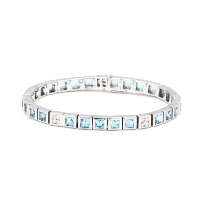 18kt-white-gold-blue-topaz-and-diamond-bracelet-signed