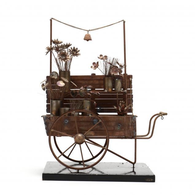 curtis-jere-vintage-copper-flower-cart-sculpture