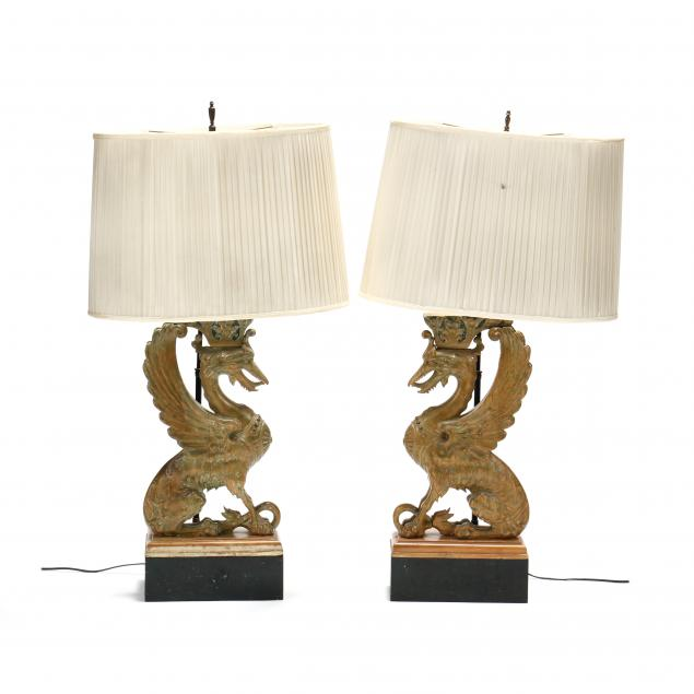 pair-of-carved-and-painted-wood-griffin-lamps