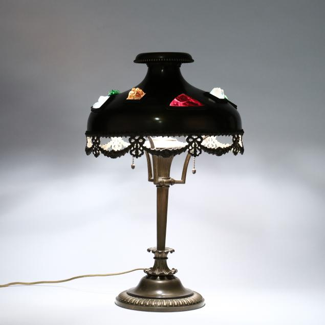 austrian-art-nouveau-brass-jeweled-table-lamp