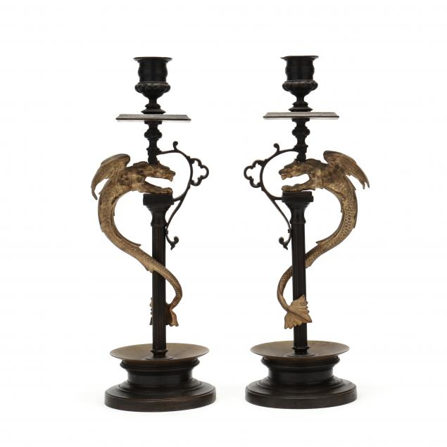 pair-of-gothic-revival-bronze-candlesticks