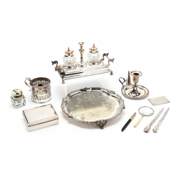 a-collection-of-ten-silverplate-and-sterling-desk-accessories