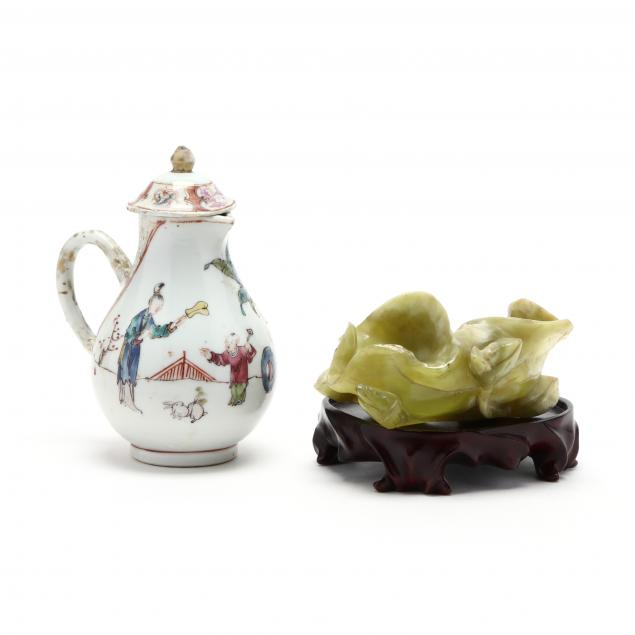 a-chinese-export-porcelain-creamer-with-cover-and-hardstone-brush-washer