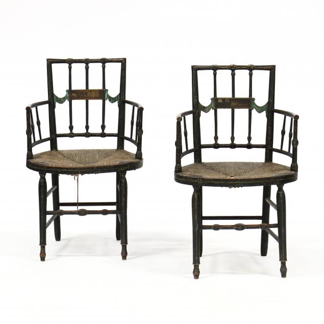 pair-of-antique-adam-style-painted-armchairs