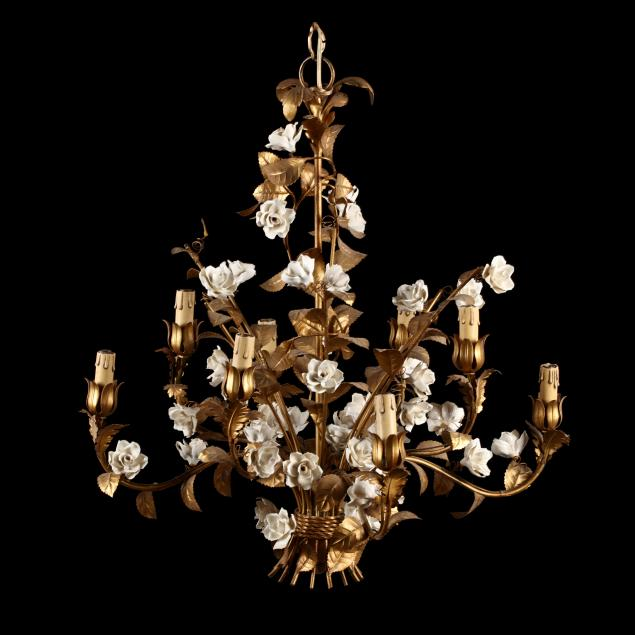 vintage-italian-gilt-metal-and-porcelain-chandelier